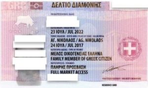ВНЖ Греции ID карта лицевая